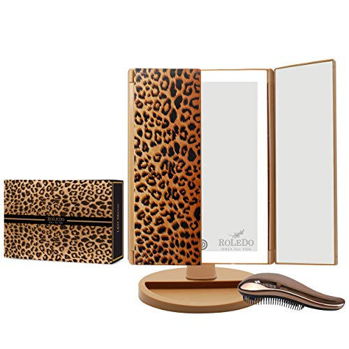 RoLeDo Makeup Mirror with Lights, 3X/2X/1X Magnifying, Vanity 72 LED Trifold Mirror with Touch Screen, 3 Color Lighting, Portable Lighted Cosmetic Light Up Mirrors, Gift for Women- Leopard Print
