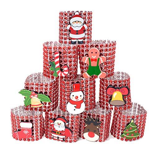 Anelli Portatovagliolo Portatovaglioli natalizi Portatovaglioli di Babbo Natale Portarotoli 10 pezzi Anelli portatovaglioli diamante argento/rosso Fibbie per decorazioni natalizie da tavola Red