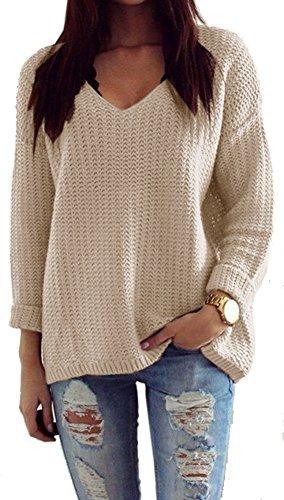 Mikos*Damen Pullover Winter Casual Long Sleeve Loose Strick Pullover Sweater Top Outwear (627) *Hergestellt in der EU - Kein Asienimport* (Beige)