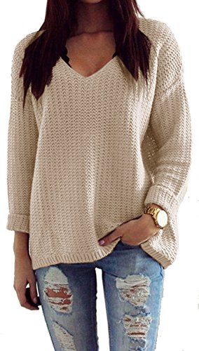 Mikos*Damen Pullover Winter Casual Long Sleeve Loose Strick Pullover Sweater Top Outwear (627) *Hergestellt in der EU - Kein Asienimport* (Beige)