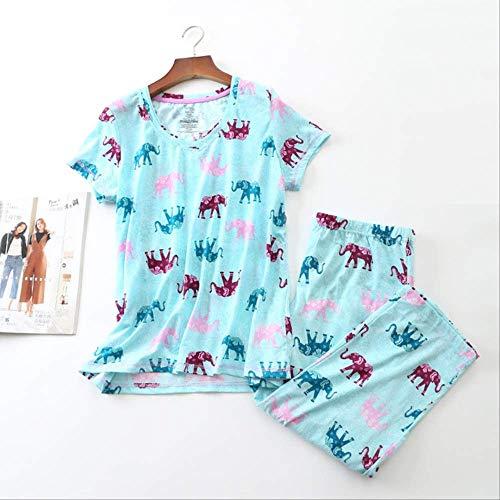 XFLOWR Ropa de Dormir Tallas Grandes Algodón de Punto Señora Pijamas de Manga Corta para Mujeres Pijamas de Cuello Redondo Pantalones hasta la Pantorrilla Pijama Mujer Ropa de Dormir XXXL Elefante