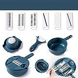 XKMY Ralladores para cocina Cortador de verduras multifuncional Mandolina Pelador de patatas de frutas y zanahoria, queso rallador, accesorios de cocina picadora (color: DKBU)