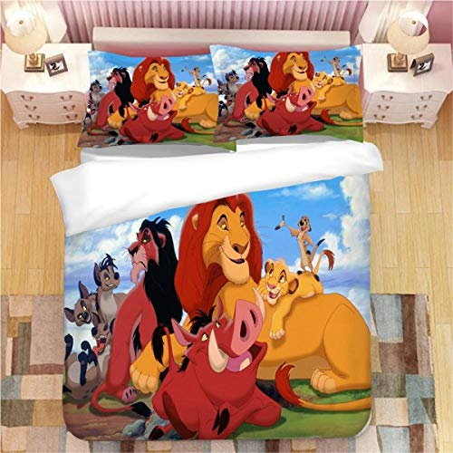 Avvsovs 3D Print Duvet Cover Set single person 3 Pieces Cartoon animal lion Bedding SetDigital Printing Comforter Cover with 2 Pillow Shams Zipper Closure Feather Microfiber Soft 135 x 200 cm Zipper