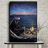 DCLZYF Nordic Night Bear Roasting Canvas Wall Art Funny Animal Panting Posters e Impresiones Cuadros de Pared Sala de Estar Decoración para el hogar-50x70cm (sin Marco)