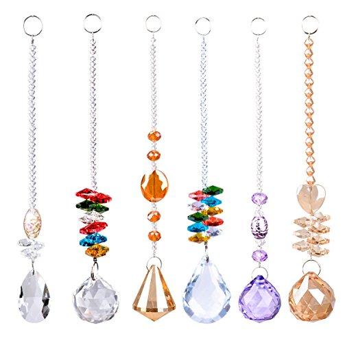 LONGSHENG  SINCE 2001  Chandelier Suncatchers Prisms Octogon Chakra Crystal Balls Hanging Pendant Ornament with Gift Box for HomeOfficeGarden Decoration