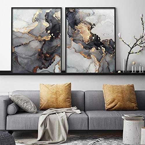 YANGMENGDAN Druck auf Leinwand Schwarz und Gold Marmor Wanddekoration auf Grau Abstrakte Leinwand MalereiWandkunstNordic PrintDekoration Bild 19,6
