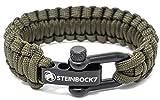 Steinbock7 - Braccialetto paracord regolabile con chiusura in acciaio inox, incluse istruzioni per l'intreccio (lingua italiana non garantita), Verde militare., 23 cm