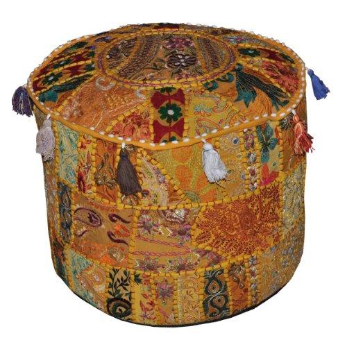 Vintage indien ottoman embelli avec coussin de broderie et patchwork Repose étage, 46 X 33 cm