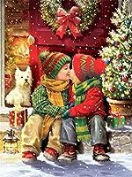 絵手塗り DIY絵 デジタル油絵 DIY絵 デジタル油絵 ホーム オフィス装飾--冬、クリスマスプレゼント、子供たち 40x50cm フレームレス