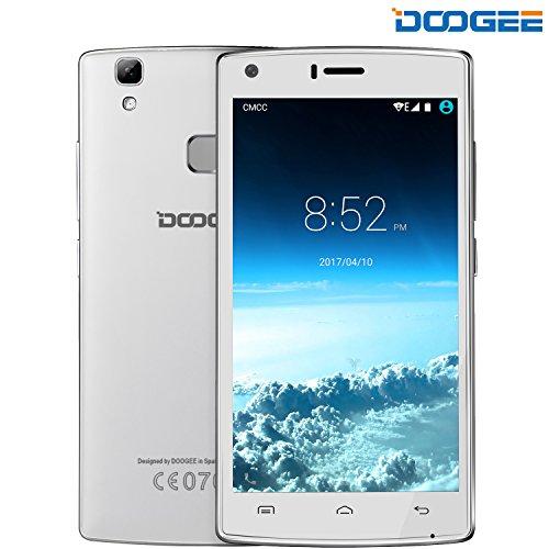 Móviles y Smartphones Libres, DOOGEE X5 MAX TeléfonoMóvilLibreBaratos (MTK6580 Quad Core, 5.0 Pantalla HD LCD, 8GB ROM, 8MP Cámaras Duales, Huella Dactilar, Gesto Inteligente, Android 6.0, Dual SIM) - Blanco
