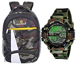 Good Friends Waterproof,Laptop College School Bag for Boys + Digital Watches Combo (Military +Green),Good Friends,GF-W