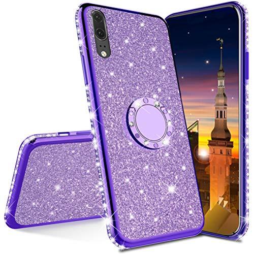 MRSTER Compatibile con Honor 7X Custodia Glitter Bling Scintillante Brillantini Custodia con Ring Kickstand Rotante a 360 Gradi Donna Cover per Huawei Honor 7X. Purple