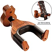 Neboic Guitar Wall Mount, Auto Lock Guitar Wall Hanger, Hard Wood Base in Guitar Shape Guitar Hook, Guitar Holder, Acoustic, Electric, Classical, Bass Guitar Stand,Guitar Accessories