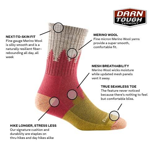 Darn Tough Women's Treeline Micro Crew Midweight with Cushion - Medium Cranberry Merino Wool Socks for Hiking