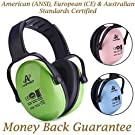 Amplim Hearing Protection Earmuff for Toddlers, Teens and Adults. Noise Cancelling Headphones for Kids. Autism Spectrum Ear Defenders - Airplane, Concert, Outdoor, School – Green