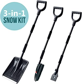 multifun Shovel Kit, 3-in-1 Snow Shovel with Ice Scraper and Snow Brush, 3 Piece Collapsible Design Portable Emergency Snow Shovel Set for Car Truck Camping and Other Outdoor Activities