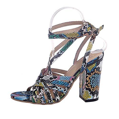 Sandalias Elegantes de cuña Alta para Mujer con Hebilla Ajustable,cómodos Deportes,Zapatos de Senderismo al Aire Libre para el Verano, Moda Informal,Serpentina,Color a Juego,Sandalia de Roma