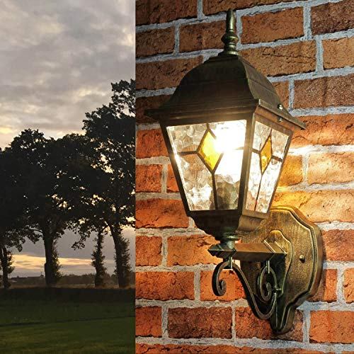 Rustikale Wandleuchte in antikgold inkl. 1x 12W E27 LED Außenlampe Aluminium Glas für Garten Terrasse Weg Lampen Leuchte außen Beleuchtung
