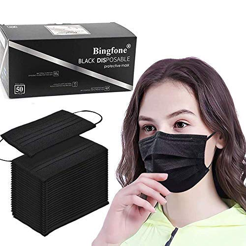 Disposable Face Masks, 50Pcs - 3 Layer Face Mask Breathable Comfortable Face Masks with Earloop & Metal Nose Bridge Strips Mouth Cover for Adult Men Women - Black