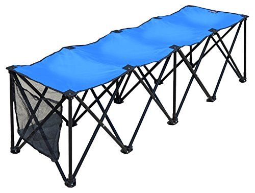 BenefitUSA Sports Sideline Bench 3/4/8 Seater Portable Folding Team Sports Bench Sits Outdoor Waterproof (Blue, 8 Seater)