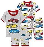 Boys Cars Pajamas Children Cotton Summer Pjs Toddler Kids 4 PCs Clothes 6t