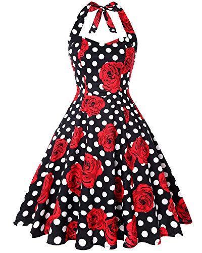 MINTLIMIT Womens Halter Audrey Hepburn 50's 60's Party Costume Gown (Floral Black,Size S)