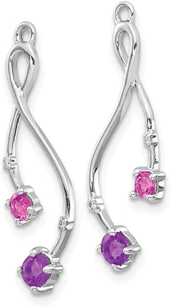 14k White Gold Diamond Purple Amethyst Pink Tourm Ear Jacket Jackets For Studs Fine Jewelry For Women Gifts For Her