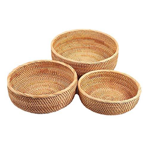 Fransande Cesta de mimbre hecha a mano para guardar regalos, cestas de pan para servir, soporte para frutas (juego de 3 tamaños)