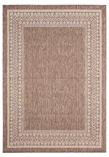 Classic Border Rug - 2 ft. x 3 ft., Neutral, Indoor/Outdoor Decor Accent Rug with Intricate Border, UV, Fade Resistant, Waterproof Rug | Decorative Rugs