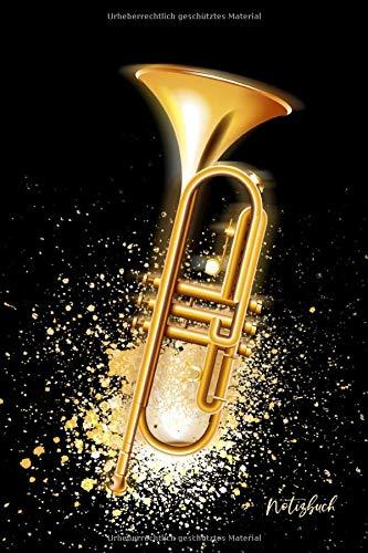 Notizbuch: Trompete Notizbuch A5 liniert   Musiker Notizheft   Tagebuch   Musikinstrument Trompete Cover   Geschenk Weihnachten, Geburtstag   120 Seiten
