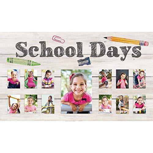 P. Graham Dunn School Days Pencil Crayon Cream 24 x 14 Pine Wood Wall and Tabletop Photo Frame
