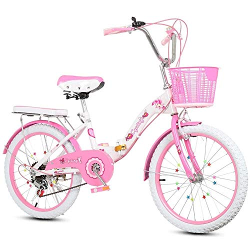 Gq2019 Kids Children Foldable Bicycle Road Mountain Bikes Girl Bike with Stabilisers and Basket,Pink 16Inch 18Inch 20Inch 22Inch (Size : 22 inches)