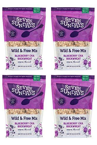 Seven Sundays Wild & Free Blueberry Chia Buckwheat Muesli Cereal {32oz Eco-Pack, 4 Count} | Gluten Free | Non GMO | No Refined Sugar