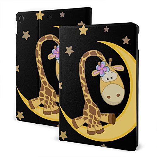 Compatible with Ipad 7th 10.2 Ipad Case Apple Generation Cute Giraffe On Moon Screen Protector Mini Case 2020 Shockproof Full Protection Stand Cover Slim Fold Auto Wake/Sleep