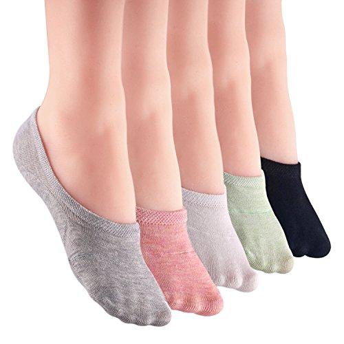 LANTING Damen Füßlinge Baumwolle Sneaker Socken mit Rutschfest Silikon Ballerina Bunte Kurze Socken 5 Per (EU 35-39)