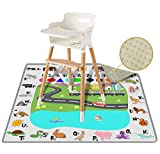 54' Large REIGNDROP Splat Mat for Under High Chair, Play Mat, Picnic, Art, Craft for Baby, Kid, Non Slip, Waterproof, Washable, Portable, Durable, Reusable Splash and Spill Mat (Fun and Educational)