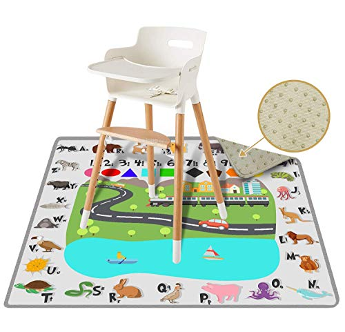 "54"" Large REIGNDROP Splat Mat for Under High Chair, Play Mat, Picnic, Art, Craft for Baby, Kid, Non Slip, Waterproof, Washable, Portable, Durable, Reusable Splash and Spill Mat (Fun and Educational)"