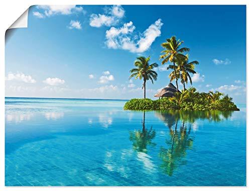 Artland Poster Kunstdruck Wandposter Bild ohne Rahmen 40x30 cm Strand Meer Karibik Paradies Insel Palmen Sommer Urlaub T5MX