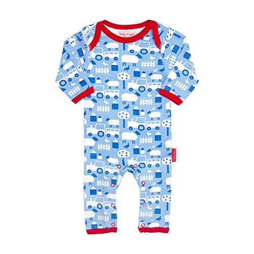 Toby Tiger 100% Organic Cotton Printed Farm Sleepsuit. Combinaison, Bleu-Bleu, 0-3 Mois Bébé garçon