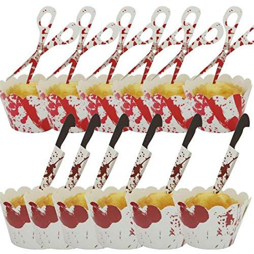 SHIJIAN 12 Stück Tortendeckel Papier Blut Handabdruck Schere Drucken Fledermaus Cupcake Halloween Party Decor, Blut Handabdruck Schere (1)