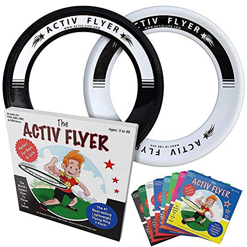 Activ Life Kids Flying Rings [Black/White] 2 Pack - Best Water Toys for Summer Beach Games Gear Items and Swimming Pool - Sand Lawn Fun Outdoor Stuff - Outside Family Essentials