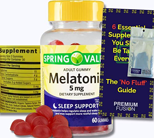 Melatonin Gummies 5mg Sleep Aid for Adults with Occasional Sleeplessness + Vitamin Pouch and Guide to Supplements