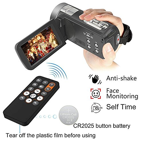 Video Camera Camcorder with IR Night Vision, IBACAKYS 18X Digital Zoom 24.0 Mega Pixels Full HD 270 Degrees Rotatable Digital Video Camera Recorder (Two Batteries Included)
