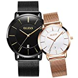 OLEVS His & Hers Watches Couple Watch for Men Women Pair Matching Wristwatch Quartz Analog Date Waterproof Valentine's Watches Gifts Set
