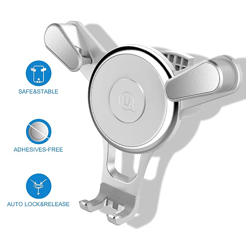 MEIDI Car Phone Mount - Air Vent Phone Holder, Universal Cell Phone Holder with One Hand On and Triangle Design, Built-in Secure Spring and Auto-Clamping Compatible with iPhone Samsung HTC LG (White)