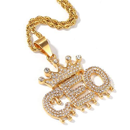 NICEWL Hip Hop Iced Out CEO Bubble Letters Anhänger Halskette, Männer Frauen Funkelnden Strass Kronenschmuck, Rapper Biker Kostüm Zubehör