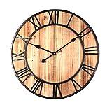 Orologio da parete grande, silenzioso, 60 cm, orologio da parete vintage, in legno, per cucina, soggiorno e camera da letto