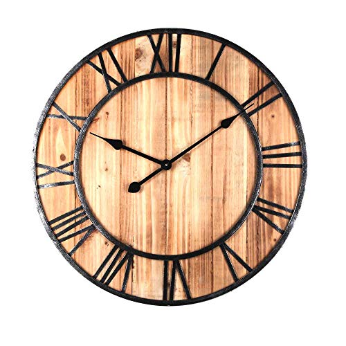 Reloj de pared grande y silencioso (24 pulgadas), 60 cm, reloj de pared vintage de madera, reloj de pared para cocina, salón y dormitorio