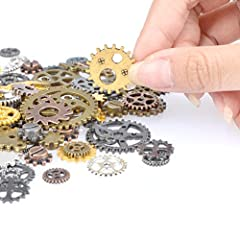 FOCCTS Jewelry Cogs 100 Grams Assorted Antique Steampunk Gears Charms Cogs, for Jewelry Making Accessory & Crafting, Mixed Colors #2