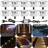 Juego de 10exterior Terraza Luz LED Foco de suelo IP67resistente al agua empotrables Cocina Jardín LED Lámpara Dc12V Ø30mm 0.6W